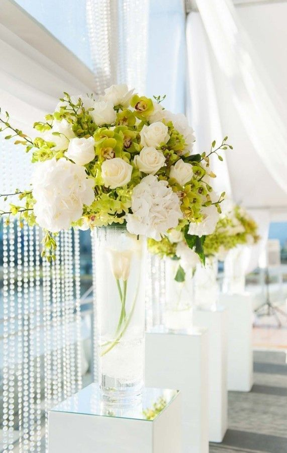 Tall White Floral Arrangement Flower Arrangements