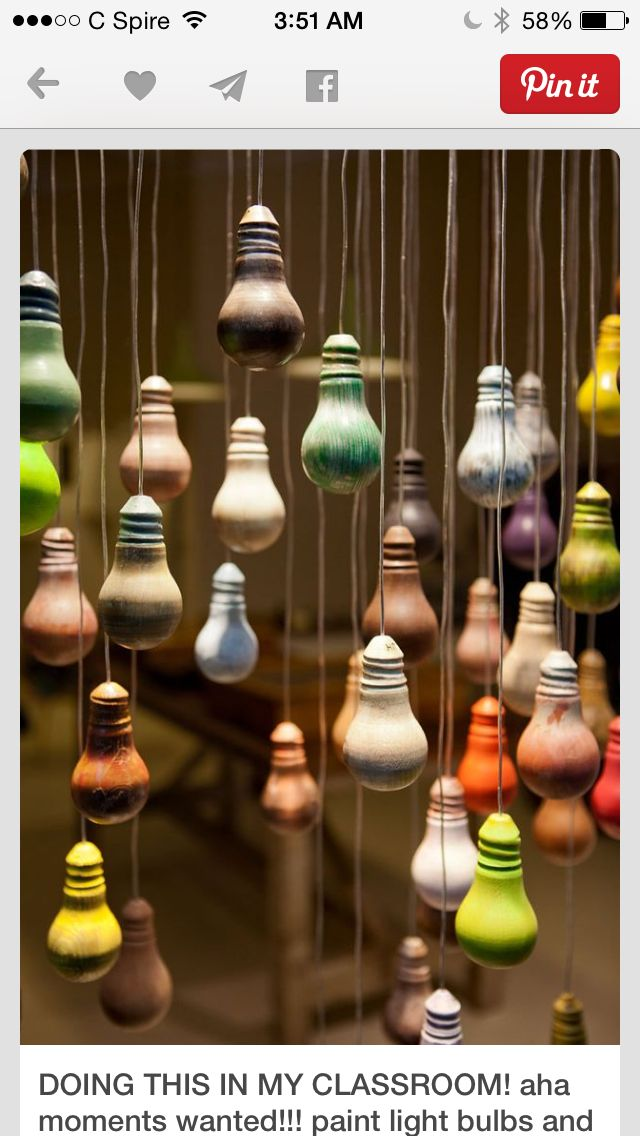Instead of glass light bulbs... I'm thinking of plastic painted Christmas ornaments with fishing wire!!!
