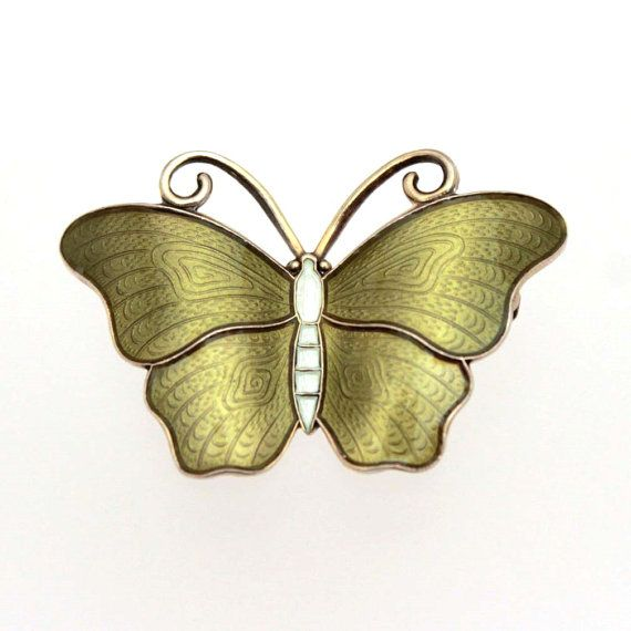 Ivar Holth Guilloche Enamel Sterling Butterfly Pin Norway