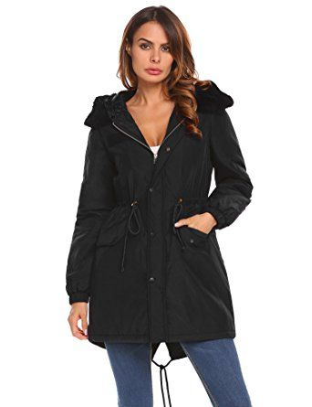 ELESOL Women's Parka Jacket Warm Hooded Winter Anorak Coats Faux Fur Coat Review