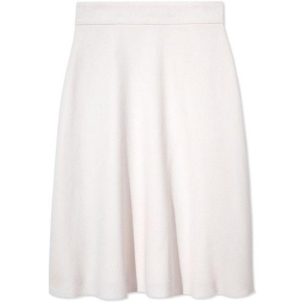 Oscar de la Renta Cashgora A-Line Skirt ($1,390) ❤ liked on Polyvore featuring skirts, white a line skirt, white high waisted skirt, white knee length skirt, high-waisted skirts and oscar de la renta skirts