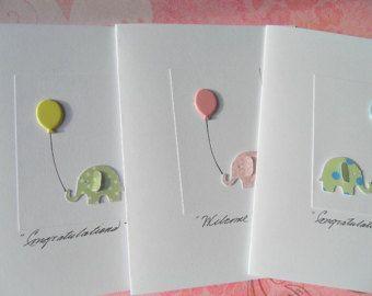 baby cards - Martha Stuart elephant punch and a balloon brad
