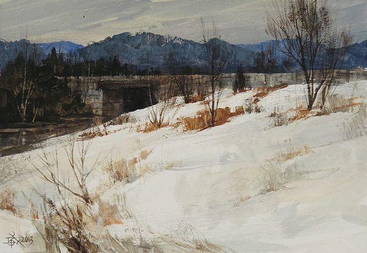 【Bridge in Snow】....... opaque watercolor,18*27CM,chien Chung Wei