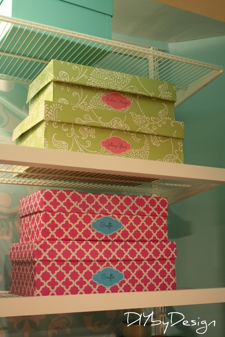 LOVE THESE boxes used in her craft room!!! They are actually shoe boxes covered with cool contact paper!!!