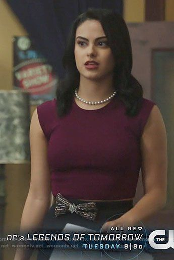 Veronica's purple top and navy scalloped skirt on Riverdale