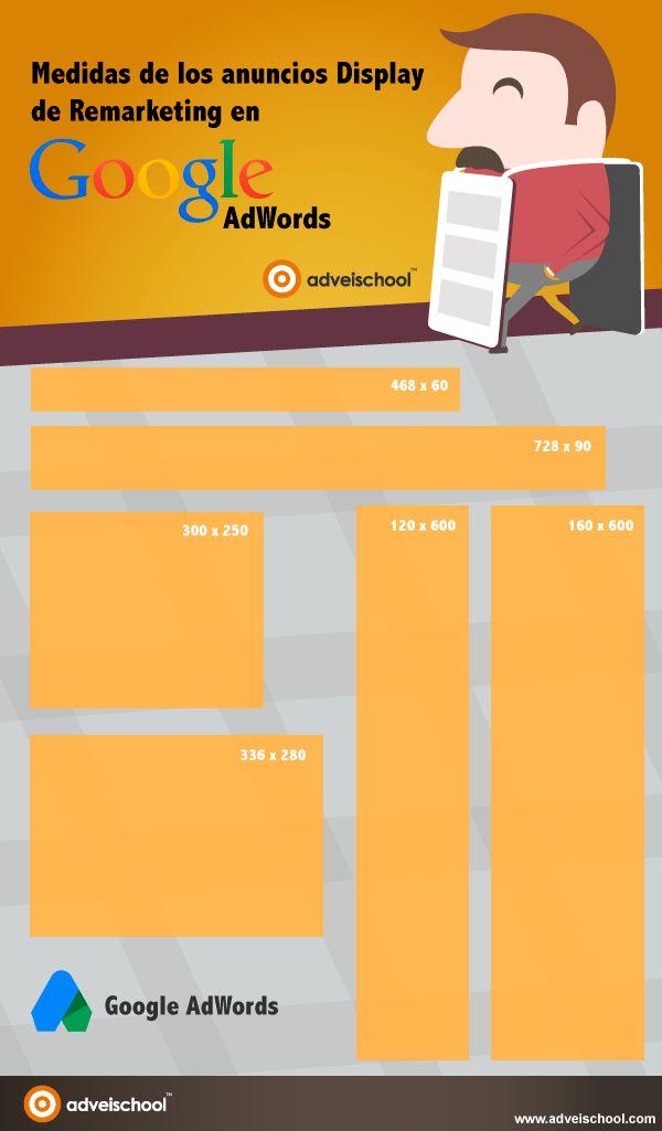 Medidas de los anuncios Display de Remarketing en Google AdWords #infografia #marketing