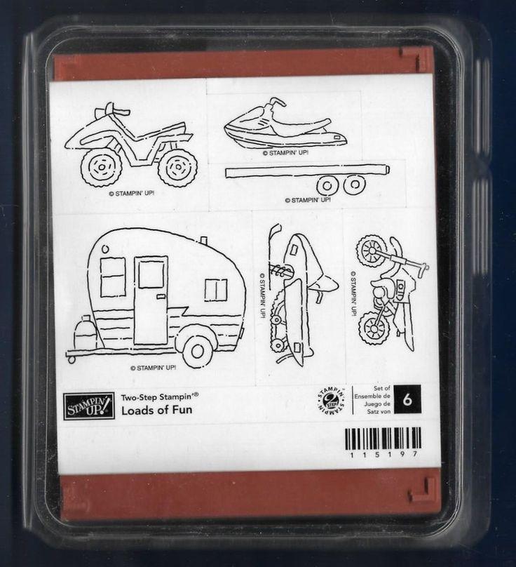 NEW LOADS OF FUN 6 pc SET CAMPER BIKE Jet Ski Stampin Up LOVE Truck Rubber Stamp #StampinUp #Background