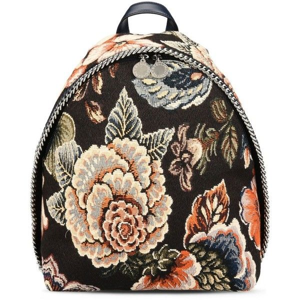 Stella Mccartney Tapestry And Denim Small Backpack ($960) ❤ liked on Polyvore featuring bags, backpacks, multicoloured, day pack backpack, flower print backpack, floral bags, tapestry backpack and stella mccartney bag