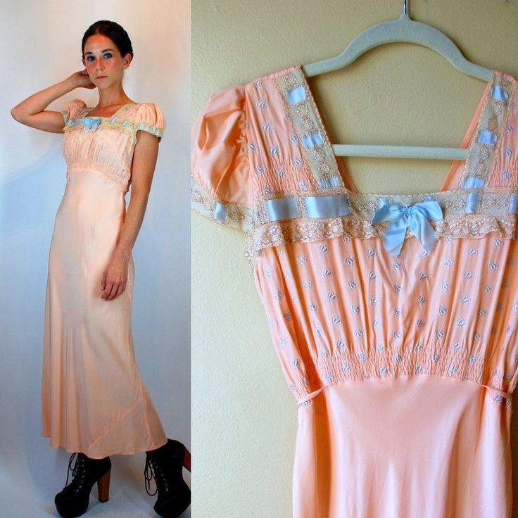 Vintage 1930s Peach Nightgown w/ Crochet Lace, Blue Ribbon, Embroidered Hearts, Cap Sleeves, + Bias Cut Skirt. Feminine Lingerie Extra Small by BluegrassVoodoo on Etsy