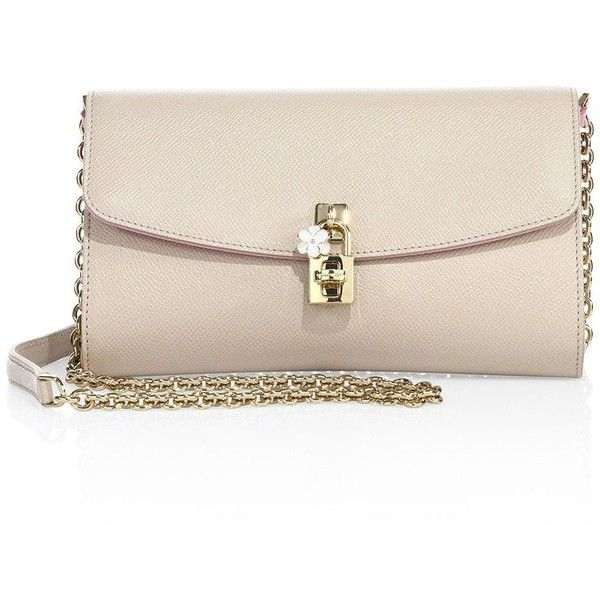 Dolce & Gabbana Saffiano Leather Chain Clutch found on Polyvore featuring bags, handbags, clutches, apparel & accessories, nude, nude clutches, chain strap handbags, saffiano leather purse, dolce gabbana handbags and pink clutches