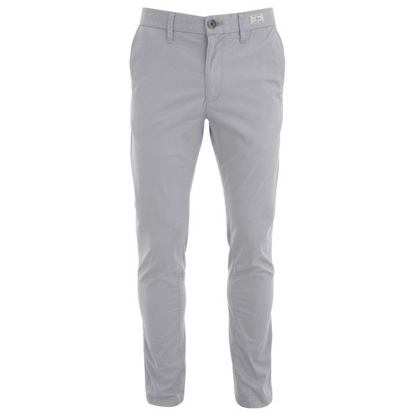 Tommy Hilfiger Men's Bleeker Chinos - Gull ($78) ❤ liked on Polyvore featuring men's fashion, men's clothing, men's pants, men's casual pants, men, pantalones hombre, pants, grey, mens zipper pants and mens slim fit pants