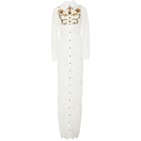 Fausto Puglisi Long Lace Shirt Dress (23.075 DKK) ❤ liked on Polyvore featuring dresses, white, white embroidered dress, lace collar dress, white embroidery dress, white shirt dress and collared shirt dress