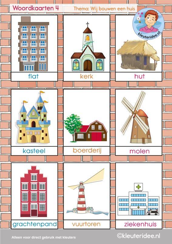 Woordkaarten 4, thema 'wij bouwen een huis', kleuteridee, free printable