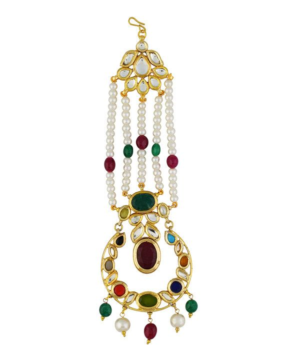 navratan gems jhumar with real natural pearls for a fresh look
