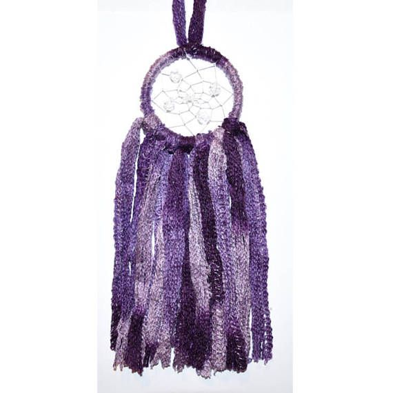 3 Inch Dark Purple Multicolour Wool Dream Catcher Clear