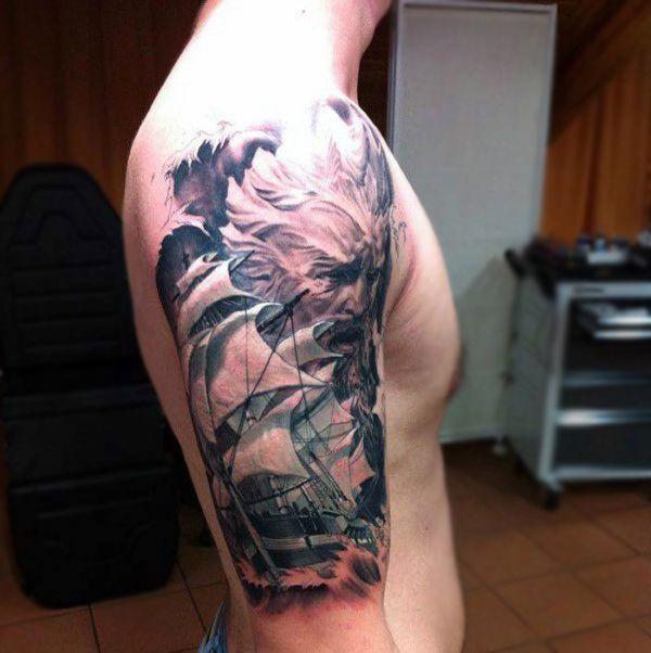 Sailboat mens badass half sleeve tattoo tattoo for Badass mens tattoos