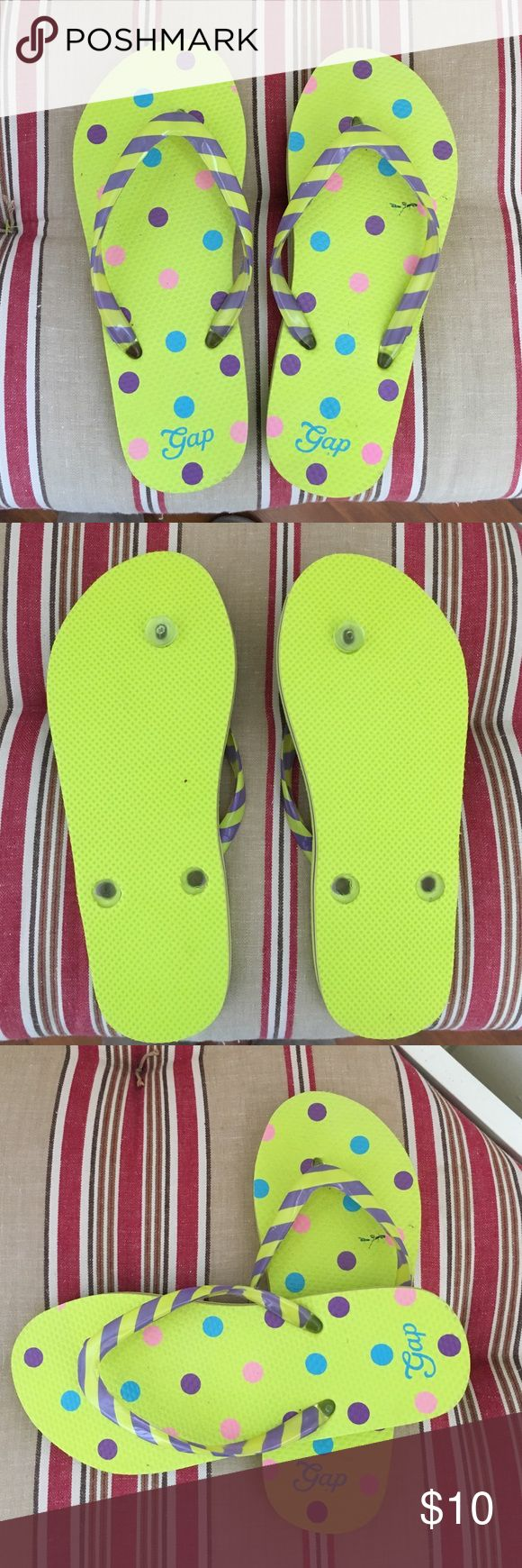 NWOT Girls Flip Flops New with out tags bright yellow with polka dots propel striped straps GAP Shoes Sandals & Flip Flops