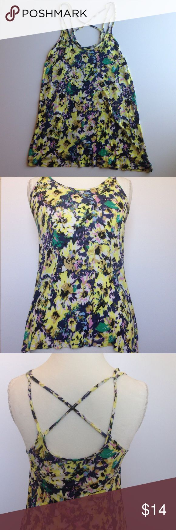 Yellow floral strappy top Lightly worn but in great condition! Top is flowy and flattering. Soft material. No trades H&M Tops Tank Tops