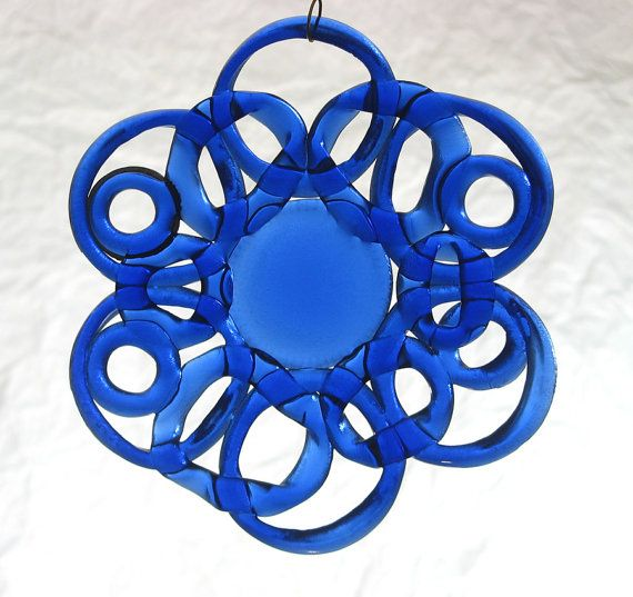 mandala window art, fused glass suncatcher using rings cut from bottles