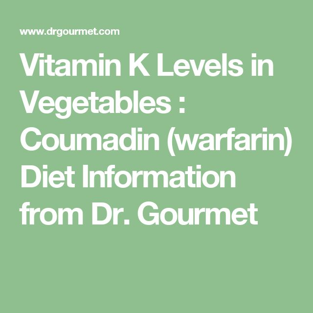 Vitamin K Levels in Vegetables : Coumadin (warfarin) Diet Information from Dr. Gourmet
