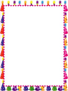 Colorful, festive party hats decorate this free, printable birthday border. Free to download and print.