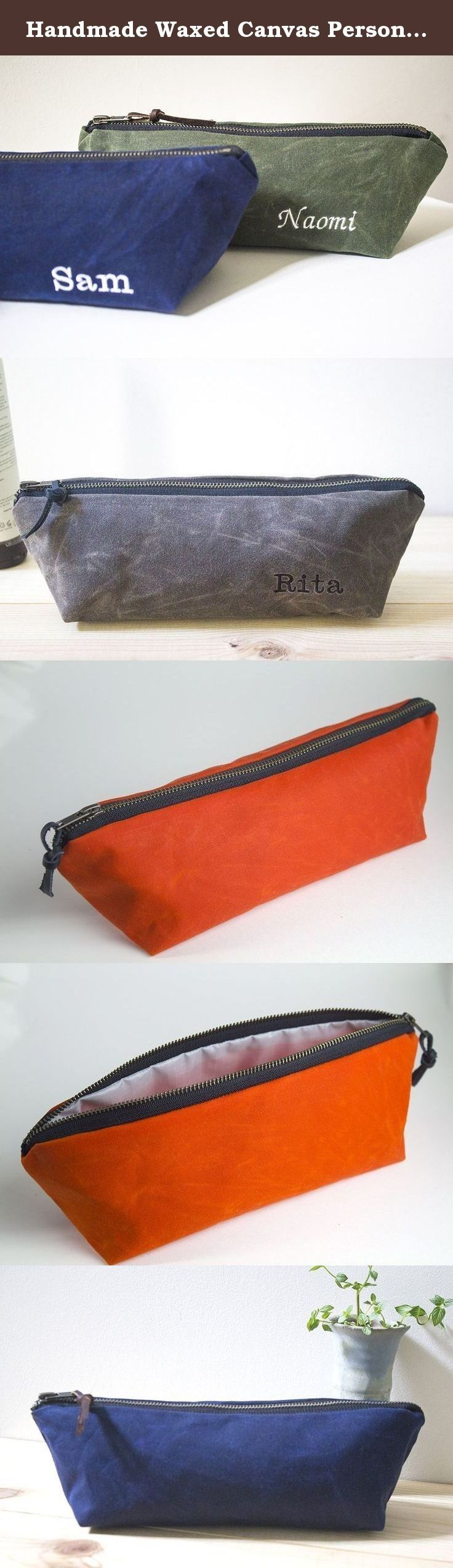 Handmade Waxed Canvas Personalized Unisex Zippered Pouch, Toiletry bag, Cosmetic Bag, Pencil Bag, Gift for Him, Gift for Her - Water Resistant Available in 8 Colors - Monogramming available. This listing is for ONE (1) Zipper Pouch. Each item is hand-made by me. Quality is my top priority. The Zipper Pouch are available in 8 different colors: Blue (shown), Blush Brown, Olive Green, Dark Oak, Gray, Tan, Orange and Black. The Unisex Zipper Pouch is great as a toiletry bag or as a cosmetic…