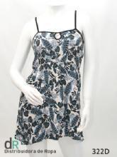 Vestido fibrana estamp.azul flores T.2  Medidas en cm : Busto desde 80 hasta 95 cm; es equivalente a un talle S/M.  Calidad : Fibrana estampada con breteles negros de modal, detalle de abertura al frente.