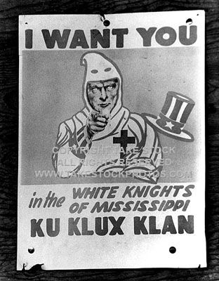 Recruiting poster of the White Knights of the Mississippi Ku Klux Klan 8-15-65. I want this photo and will take artistic license and use it.  Also appears in the book LOCAL PEOPLE credited to Mitchell Library, Mississippi State University.