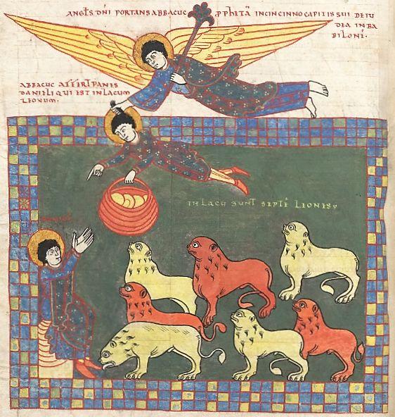 Daniel in the Lion's Den, Beatus of Liébana, Commentaria in Apocalypsin (the 'Beatus of Saint-Sever'), Saint-Sever before 1072 BnF, Latin 8878, fol. 233v (Daniel 6)