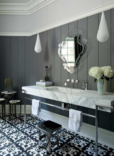 Black white and grey bathroom with tongue and groove panelling.