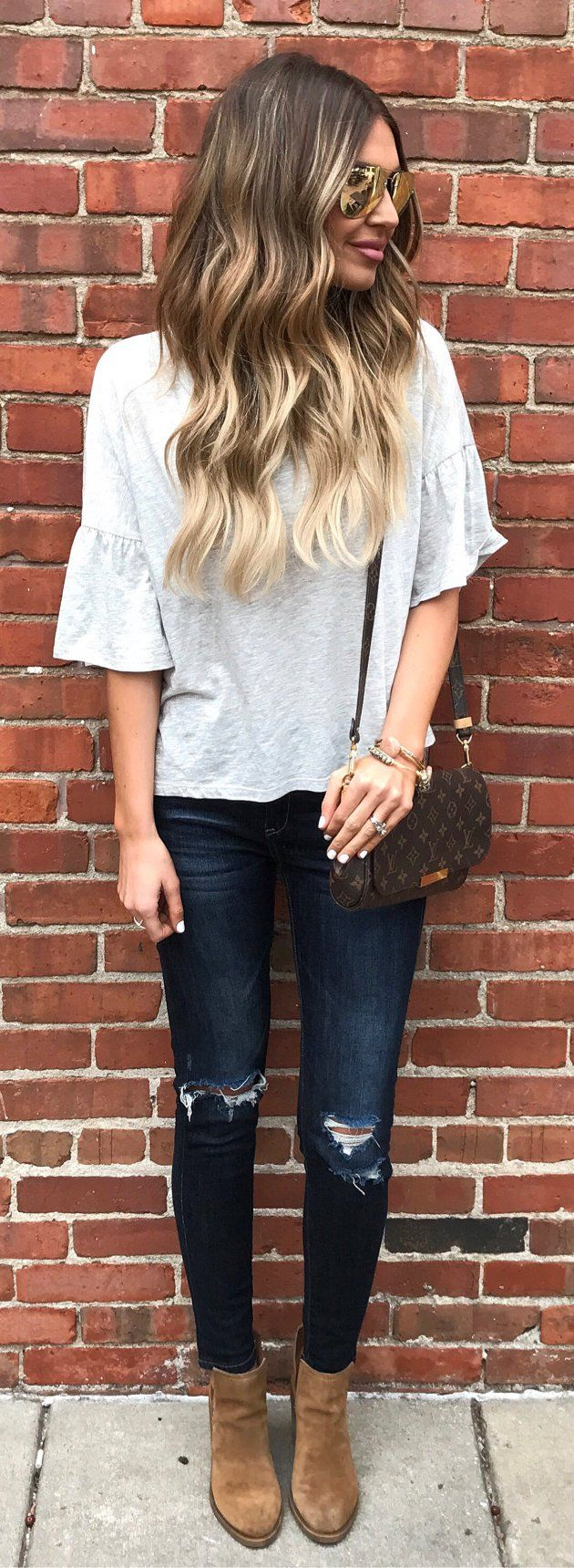 #winter #fashion /  White Blouse / Ripped Skinny Jeans / Brown Suede Booties