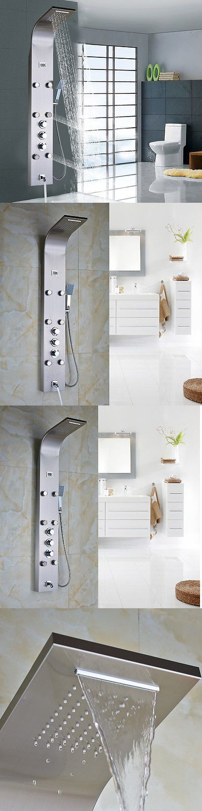 Shower Panels And Massagers 121849: Thermostatic Rainfall Nickel Brushed  Shower Panel 3 Handles Mixer W