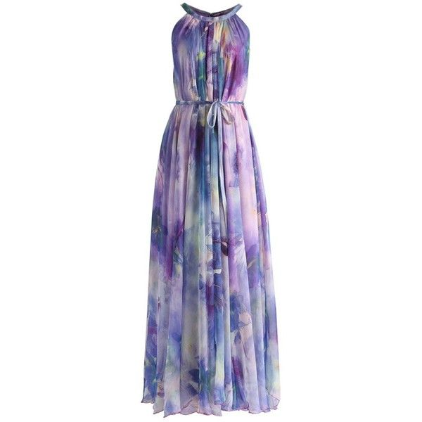 Chicwish Floral Watercolor Maxi Slip Dress in Violet ($62) ❤ liked on Polyvore featuring dresses, purple, floral print dress, purple summer dresses, purple maxi dress, tie-dye maxi dresses and day summer dresses