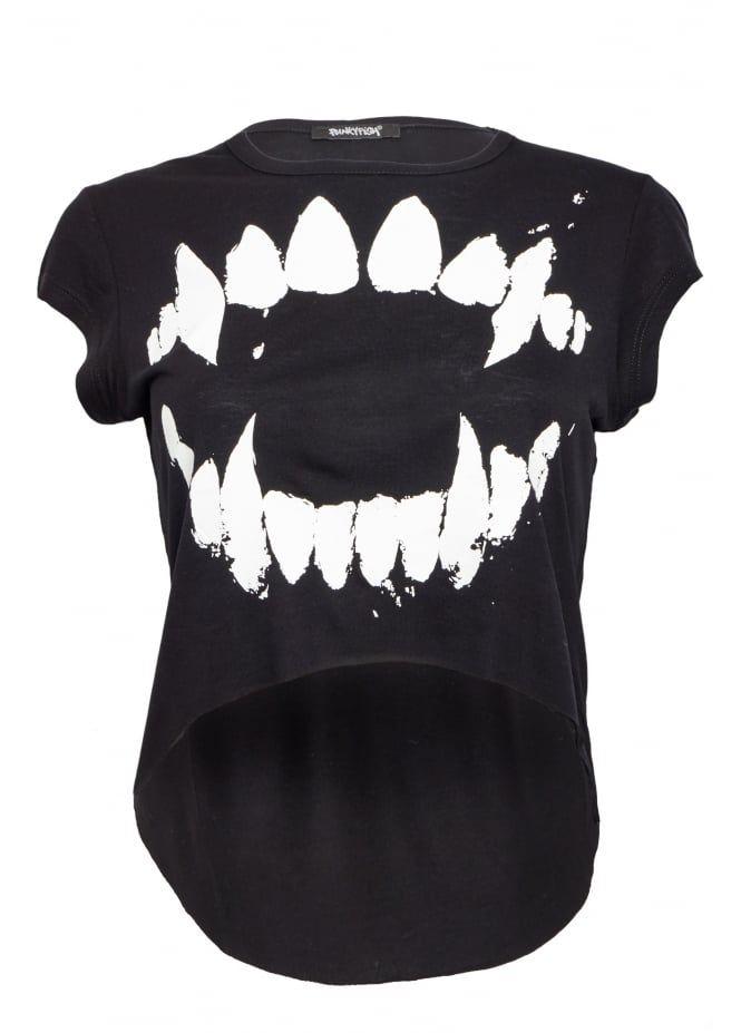 Punkyfish Teeth Cropped T-Shirt | Attitude Clothing