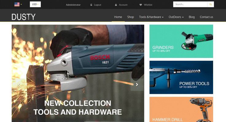 Dusty Tools and Hardware Theme for Odoo v9 Ecommerce