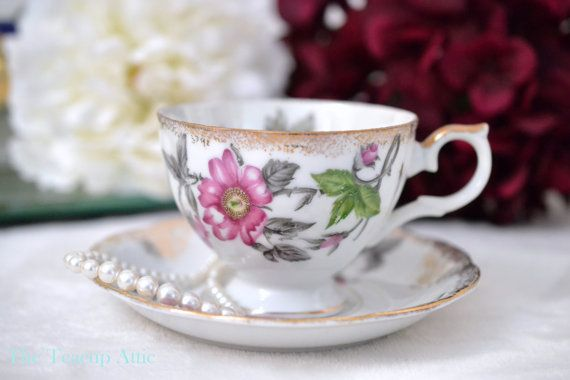 Japanese Teacup and Saucer Set With Pink Flowers by TheTeacupAttic