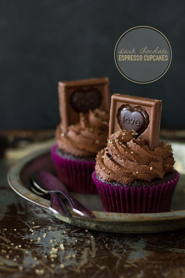 Dark Chocolate Espresso Cupcakes made with Ghirardelli 60% Cacao Baking Chips and topped with Ghirardelli Valentine Impressions by Confessions of a Bright-Eyed Baker. #GhirardelliVDay