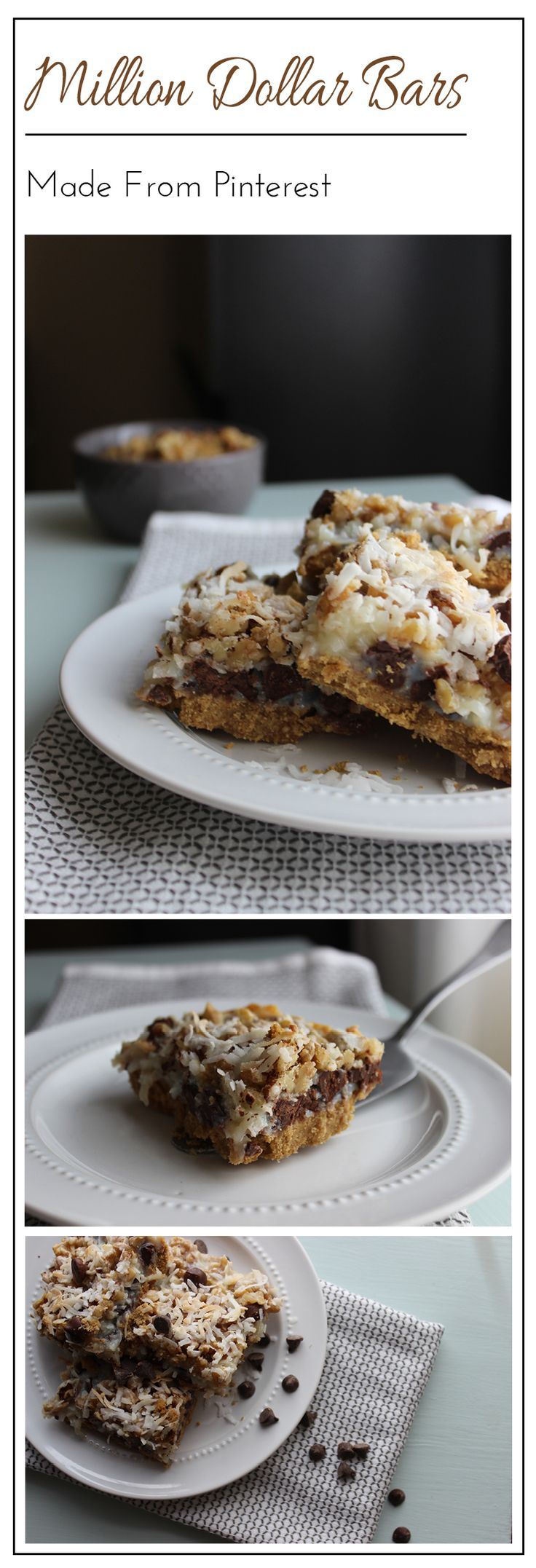 These Million Dollar Bars are the result of an addiction to the Cafe Zupas bars! They are layered with coconut, chocolate chips, chopped walnuts and graham cracker crust!