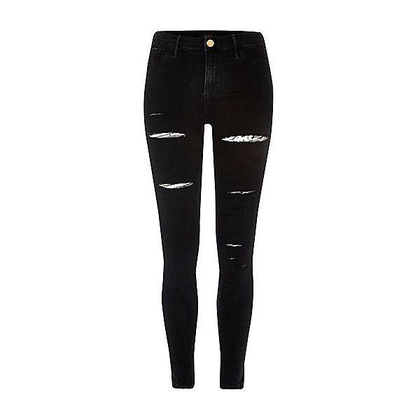 Molly zwarte jegging met gescheurde pijpen ($58) ❤ liked on Polyvore featuring pants, leggings, denim jeggings, zip pants, skinny denim pants, skinny trousers and zipper leggings