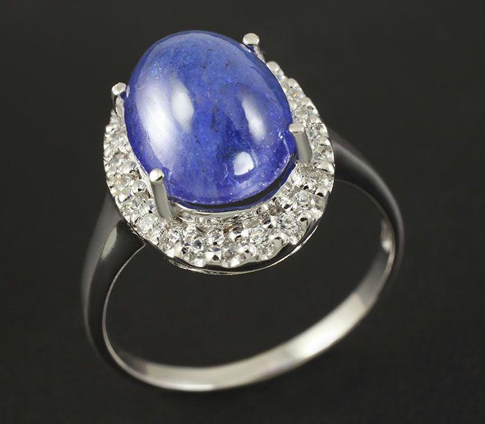 Изящное кольцо c кабошоном танзанита 4,45 карат!