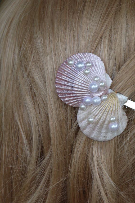 Seashell pearl hairclip, mermaid hair clip, seashell hair ...