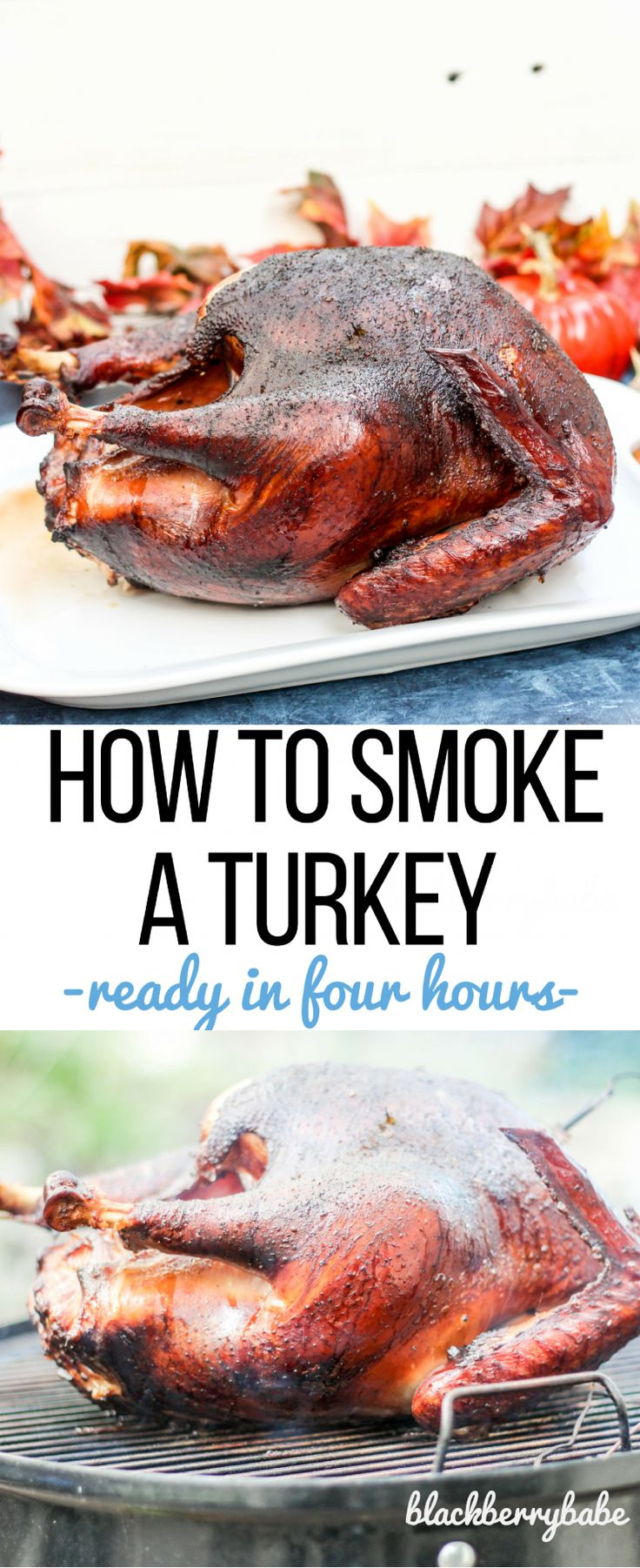 Smoking a whole turkey is easier than you think! Tips on how long to smoke, what type of wood to use, and how to brine the bird! #700reasons #ad