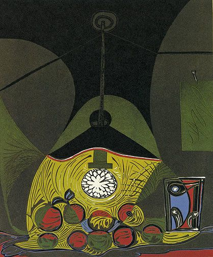 PABLO PICASSO, Still Life by Lamplight (B.1102), hand-signed linocut, image size: 25 x 21 inches.
