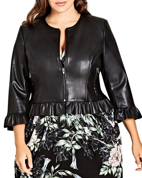 bde18873c0968 City Chic Plus - Faux-Leather Ruffle-Trim Jacket