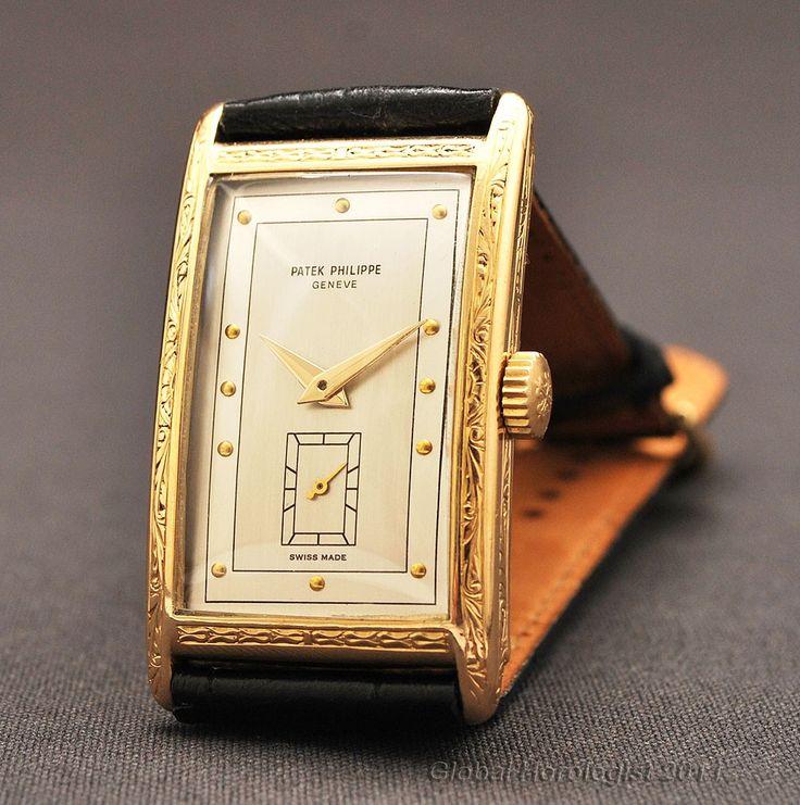 Elegant large rectangular patek philippe 18k solid gold manual wind mens watch