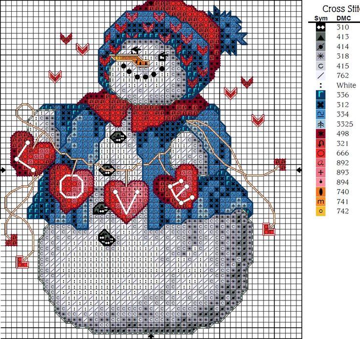 Schema punto croce Omino-love