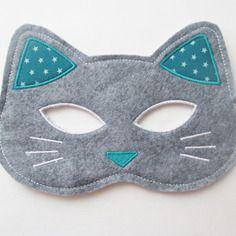 Masque chat en feutrine de laine gris