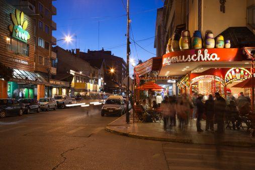 Stock Photo : Shoppers by the Mamuschka chocolate shop, Avenida Bartolome Mitre, San Carlos de Bariloche, Lake District, Rio Negro Province, Patagonia, Argentina