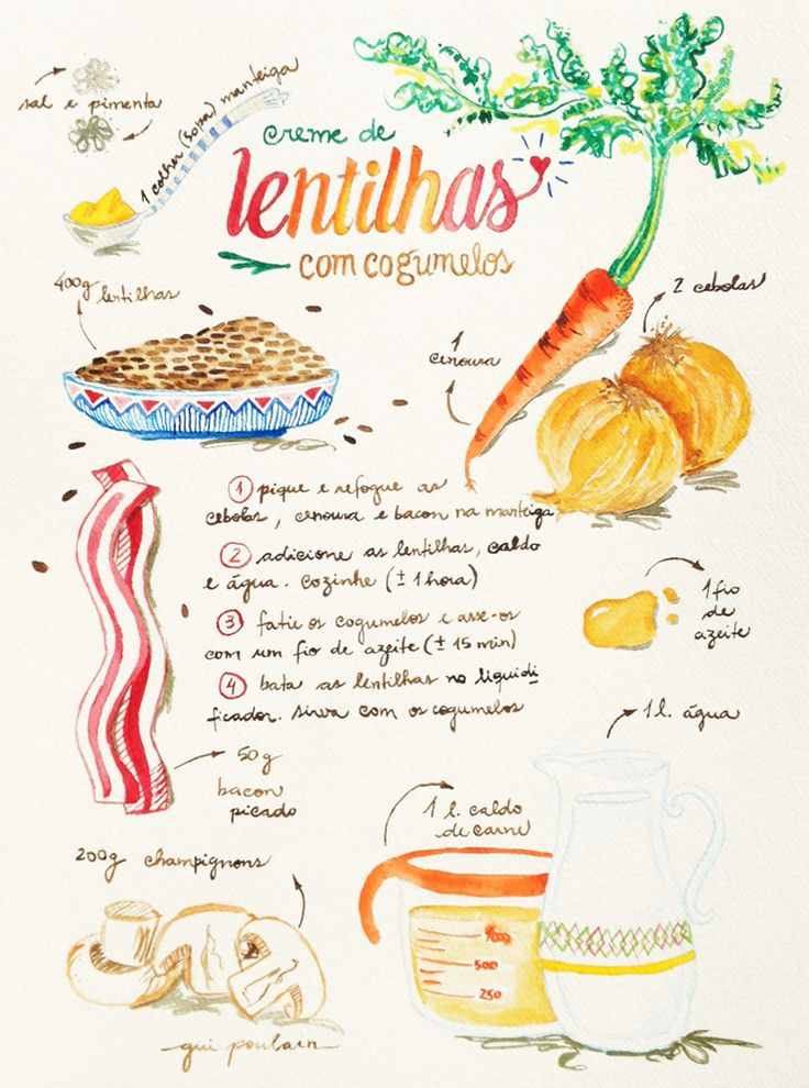 Moldando Afeto » receita ilustrada #2 – creme de lentilhas com cogumelos