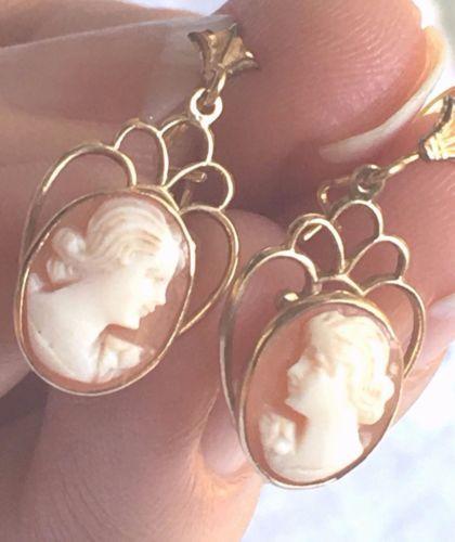 14k-Yellow-Gold-Carved-Shell-Cameo-Dangle-Earrings-w-Filigree-Lotus-Backs